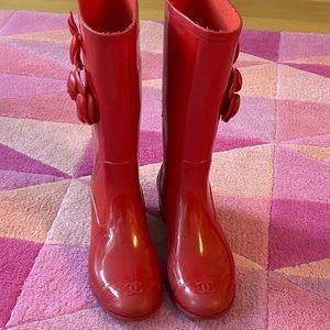 CHANEL Red Rainboots